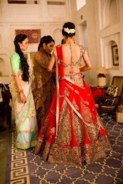 Voluminous red bridal lehenga
