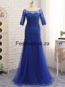 Dark Royal Blue Mermaid Beaded Tulle Mother Of The Bride Dresses – Festmzd.co.za