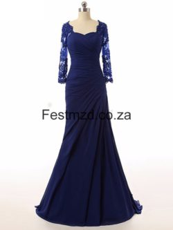 Dark Royal Blue Mermaid Long-sleeves Mother Of The Bride Dresses – Festmzd.co.za