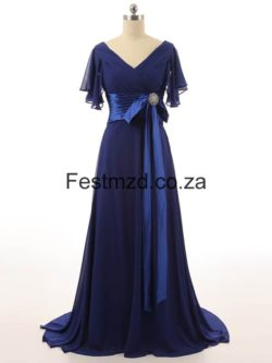Dark Royal Blue V-Neck Chiffon Mother Of The Bride Dresses – Festmzd.co.za