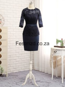 DarkNavy Knee-length Satin Mother Of The Bride Dresses – Festmzd.co.za