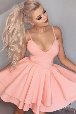 Pink A Line Sweetheart Spaghetti Sleeveless Short Homecoming Dress – Ombreprom