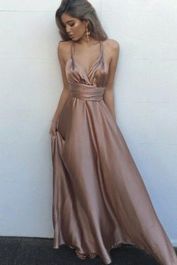 Pink A Line Floor Length Deep V Neck Sleeveless Backless Prom Dress – https://www.ombrepro ...