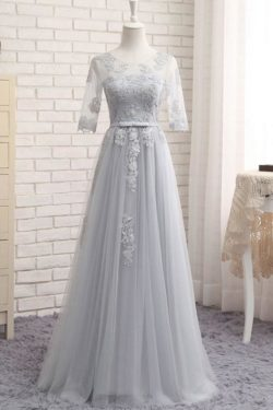 Gray A Line Sheer Neck Half Sleeve Appliques Cheap Bridesmaid Dresses – Ombreprom