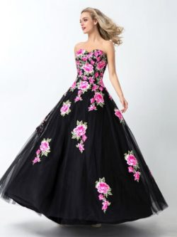 Black A-Line Ball Gown Tulle Sweetheart Sleeveless Floor-length Long Prom Dresses P556