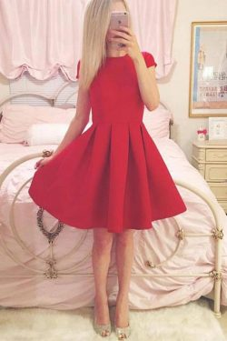 Classy A-line Short Sleeves Simple Red Homecoming Dress M444 – Ombreprom