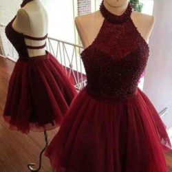 Burgundy Halter Homecoming Dress,Sleeveless Open Back Beading Short Prom Dresses H199 – ht ...