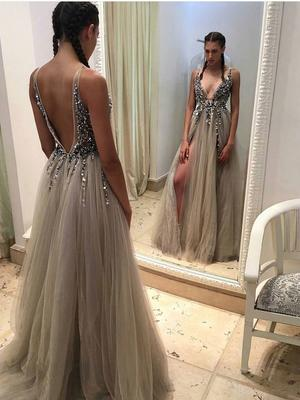 Plunging Neckline Long Prom Dress with Rhinstone, Sexy Slit Backless Evening Dress,OP130