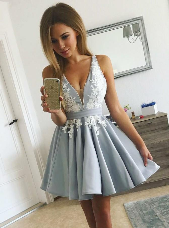 V-Neck Pleated Satin Prom Dress, Homecoming Dress with Appliques, OP191 – ombreprom.co.uk