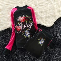 Juicy Couture Color-block Flowers Velour Tracksuit 6013 2pcs Women Suits Black and Rose