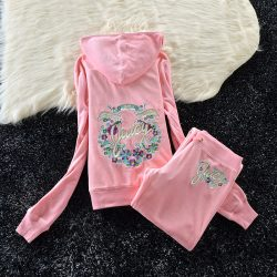 Juicy Couture Studded Colorful Flowers Velour Tracksuit 6012 2pcs Women Suits Light Pink