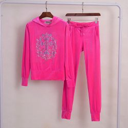 Juicy Couture Studded Cross Velour Tracksuit 2pcs Women Suits Rose