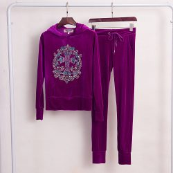 Juicy Couture Studded Cross Velour Tracksuit 2pcs Women Suits Purple