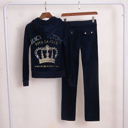 Juicy Couture Crown VIVA LA GLAM Velour Tracksuit 2pcs Women Suits Navy Blue
