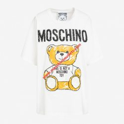 Moschino Brushstroke Teddy Bear Womens Short Sleeves T-Shirt White