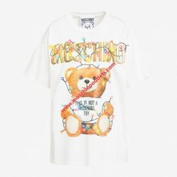 Moschino Christmas Teddy Womens Short Sleeves T-Shirt White
