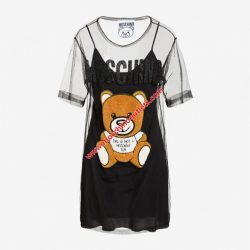 Moschino Embroidery Teddy Bear Womens Short Sleeves Tulle Dress Black