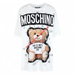 Moschino Safety Pin Teddy Womens Short Sleeves T-Shirt White