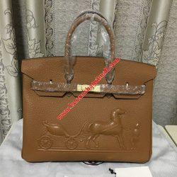 Hermes Birkin Bag Embossed Togo Leather Gold Hardware In Brown