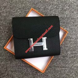 Hermes Constance Compact Wallet Togo Leather Palladium Hardware In Black