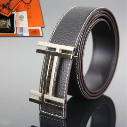 Hermes Constance Double H Belt Leather Gold Hardware In Black