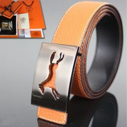 Hermes Constance Horse Belt Leather Palladium Hardware In Orange