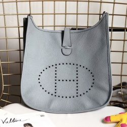 Hermes Evelyne Bag Clemence Leather Palladium Hardware In Sky Blue