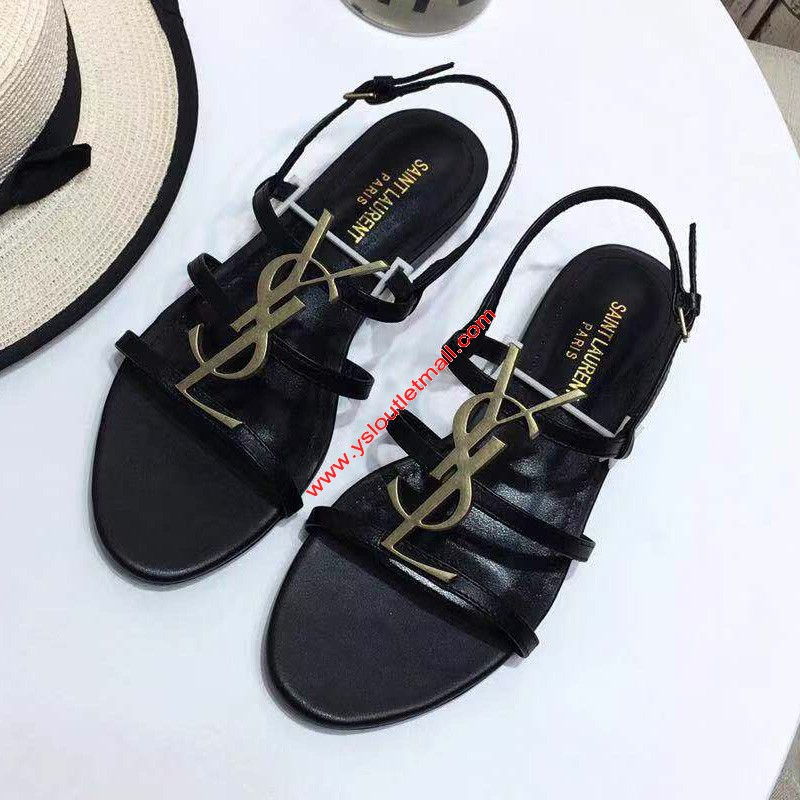 Saint Laurent Cassandra Open Sandals In Leather Black