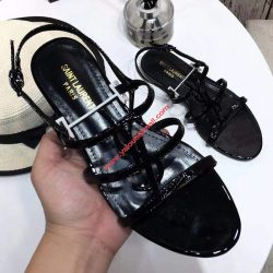 Saint Laurent Cassandra Open Sandals In Patent Leather Black