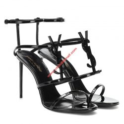 Saint Laurent Cassandra Sandals In Patent Leather Black