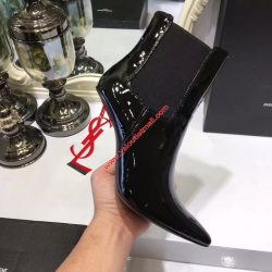 Saint Laurent Opyum Booties in Patent Leather with Red Heel Black