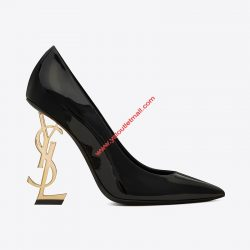 Saint Laurent Opyum Pumps in Patent Leather with Gold Heel Black