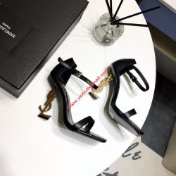 Saint Laurent Opyum Sandals in Leather with Gold Heel Black