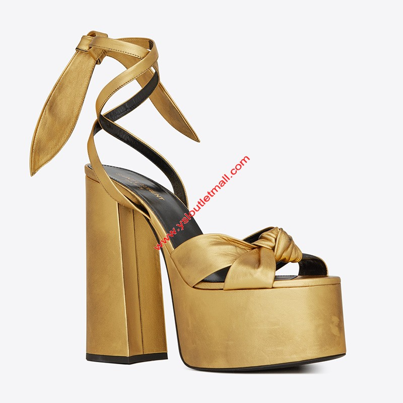 Saint Laurent Paige Sandals In Smooth Leather Gold