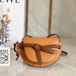 Loewe Mini Gate Bag Grained Calfskin In Camel