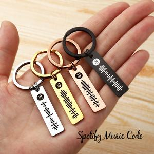 Custom Music Spotify Plaque Code Keychain Stainless Steel Silver
