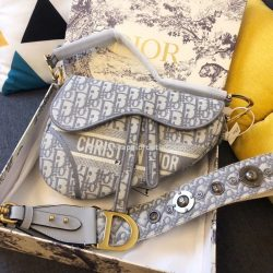 Christian Dior Saddle Bag Oblique Embroidery Grey