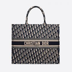 Dior Book Tote Oblique Embroidery Blue