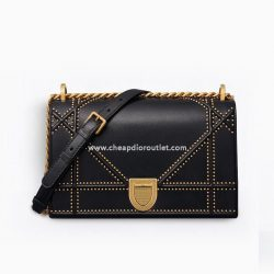 Diorama Bag Studded Archicannage Lambskin Black