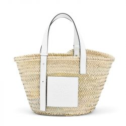 Loewe Basket Bag Palm Leaf In Beige/White