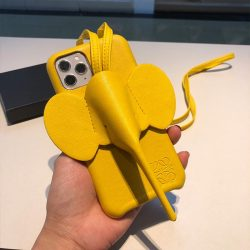 Loewe Elephant Crossbody Phone Case In Yellow