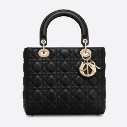 Medium Lady Dior Bag Cannage Lambskin Black