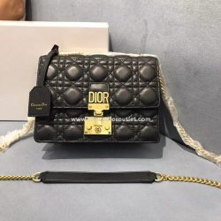 Small Dioraddict Flap Bag Cannage Lambskin Black