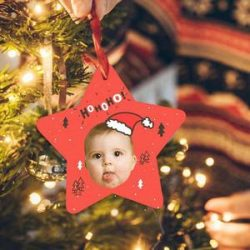 Photo Engraved Ornament Star-shaped for Christmas Day